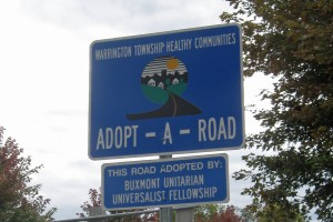 BuxMont's Adopt-a-Road sponsorship sign near Paul Valley Road and Street Road