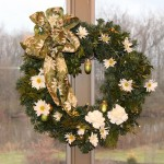 Each refreshed small wreath has added greens, live daisy mums, and one or two white carnations.